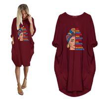 Женский повседневный свободный карманный карман с длинным рукавом напечатанные платья женские круглые шеи негабаритные пуловер средняя длина футболки платье Vestidos 210423