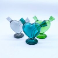Mini Colorful Pyrex Thick Glass Pipes Heart Shape Dry Herb Tobacco Preroll Rolling Cigarette Smoking Holder Portable Bong Waterpipe Filter Hookah DHL Free