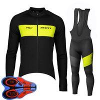 Spring / Autum Scott Team Mens Велоспорт Джерси набор с длинным рукавом рубашки нагрудника Брюки костюм МТБ велосипедные наряды гоночные велосипедные формы на открытом воздухе Спортивная одежда ROPA Ciclismo S21042045