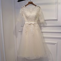 Lovely Champagne Bridesmaid Dress Short Tulle with Floral Applique Half Sleeves