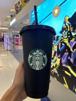 Starbucks 24oz / 710ml 플라스틱 텀블러 재사용 블랙 마시는 평면 바닥 컵 기둥 모양 뚜껑 짚 머그잔