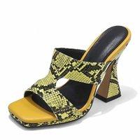 Hausschuhe Smallhut Sommer Frauen Schlange Sexy Damen Seltsame Fersen Fersen Weibliche Schwarz Gold Silber Braun Orange Offene Zehen Maultiere Schuhe