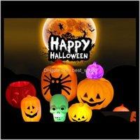 다른 축제 파티 용품 Gardenhalloween Jack-O-Lantern 오렌지 LED 가벼운 축제 홈 소품 장식 빈티지 할로윈 호박 크리스