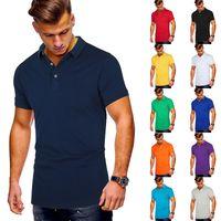 T 20 летних наличных евро сплошной повседневная футболка для отворотов мужская рубашка с коротким рукавом