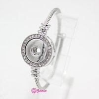 10pcs Nuovo snap Jewelry Crystal Snap Base Band Acciaio inossidabile Braccialetti regolabili Braccialetsbangle per le donne in forma 18mm pulsante FAI DA TE