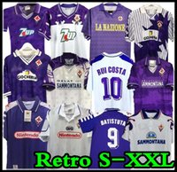 1998 1999 Retro Fiorentina Soccer Jerseys 9 Batistuta 10 Rui Costa 98 ​​99 Home Football Shirt 2000 Camisas de Futebol 89 90 91 92 93 94 95 96 97