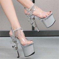 Sandals Wedding Dress 2021 Bride Shoe Lady Personality Platform Super High Heels Transparent Sexy Stripper Footwear