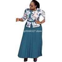 Ethnic Clothing Long African Dresses For Women Africa Design Bazin Casual Print Pleated Dashiki Mom Maxi Dress
