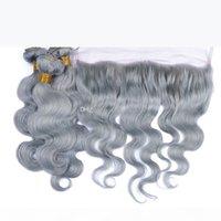 Graue menschliche haarkörperwelle spitze frontal mit bündeln splitter graue peruanische reine haare weben mit spitze frontal verschluss 4pcs los