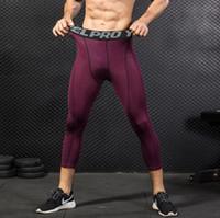 Erkek Sıkıştırma Pantolon Koşu Tayt 3/4 Şort Spor Tayt Temelayer Serin Kuru Spor Erkek Fitness Giyim