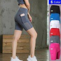 Roupas de Yoga Jinxiushirt Cintura alta das Mulheres Ches Tummy Control Workout Shorts com Bolsos de Telefone Lateral Running Fitness Roupas