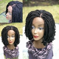 New Arrival 14inch Black Color Short Kinky Braided Wig Full Handtied Braided Lace Front Wig With Curly Tips For Africa Women