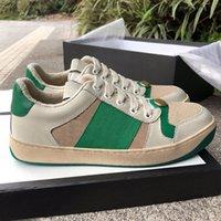 2021 Lüks Tasarımcı Marka Erkek Kadın Ekrancı Deri Sneaker Moda Rahat Erkek Elbise Ayakkabı Boyutu 35-44 Ücretsiz DHL Nakliye