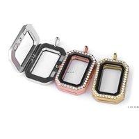 DIY pequena caixa de fotografia aberta pingente strass quadrado colar pingente presentes de festa chaveiros pingente 3 cores hwd6210