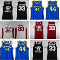 NCAA Basse Merion 33 Bryant Jersey College Hommes High School Basketball Porter Hightower Crenshaw 44 Rouge Blanc Blanc Blanc Bleu cousu 2021 Vente