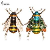 Rinhoo 곤충 Bumble Bumble Bee Brooo 여성용 키즈 꿀벌 쥬얼리 골드 컬러 노란색 녹색 에나멜 브로치 쥬얼리 범블 비