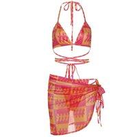 Women's Swimwear XXUF Women Sexy 3pcs Contrast Plaid Bikini Set Halter Swimsuit With Sarong Cover Up