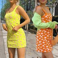 Casual Dresses Women Summer Knit Skirt Flower Wide Shoulder Strap Square Neck Sleeveless Slip Dress For Girls Orange Yellow 2021
