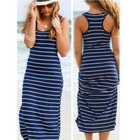 European And American Style Striped Sleeveless One-piece Long Dress Fashionable Sexy Strappy Beach Women's Swimwear