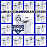 Los Angeles Mookie Betts Dodgers Baseball 2021 Gold Program Cody Bellinger Clayton Kershaw Trevor Bauer Mike Piazza Corey Seager Jersey