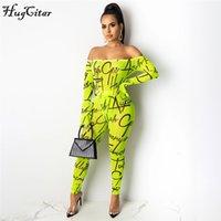 HugCartar 2020 Lettere Slash Neck Neck Mesh See-through Sexy Body Leggins 2 pezzi Set Autunno Inverno Donne Streetwear Tinksuit