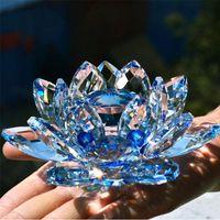 Crystal Lotus Flower Crafts Стеклянные препараты Fengshui Украшения фигурки Главная Свадьба Декор подарки Сувенир