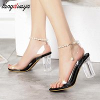 Dress Shoes Transparent Heels Women Sandals PVC Clear Woman Ankle Strap Perspex High Sexy