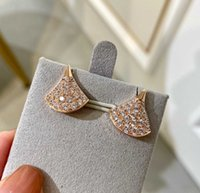 V gold luxury quality fan shape stud earring with sparkly diamond for women wedding jewelry gift have box stamp PS3248A