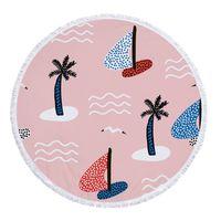 Tassel Beach Towel Coconut Tree Impresso Tapeçaria Poliéster Praia Cobertores Borla Mulheres Xale Yoga Mat Tapetes Piquenique 10 Designs GVE7555