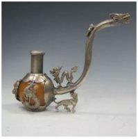 التحف القديمة الرائعة الصينية اليدوية اليشم النحاس أنابيب التدخين