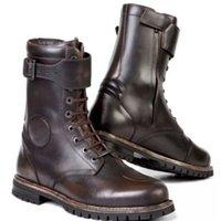 Zapatos de vestir hombres de alta calidad PU de cuero de la PU Botas de tubo de moda británica Encaje para arriba Ingeniero de cabeza redondo Motocicleta retro de los hombres XM413 QWP0