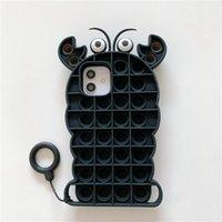 Gamberetti carini Alleviare lo stress Pop Fidget Push Bubble Silicone Telefono Custodie per iPhone 12 11 Mini Pro Max XR XS 7 8 Plus Custodia cellulare