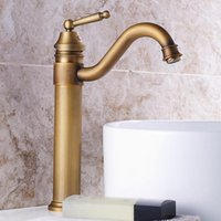 Antique Copper Bathroom Basin Faucet Europe Classic Style Cold And Water Mixer Tap Sink Deck Mounted Single Handle Faucets