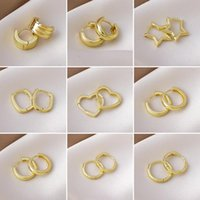 Hoop & Huggie Korean Fashion Trendy Gold Color Small Earrings For Women Geometric Round Star Heart Earring Hooping Ear Cuff Jewelry MS305