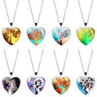 Árbol redondo de vidrio de moda multicolor del collar del colgante del corazón de la cadena de la vida de la vida Mujeres, niñas y regalos infantiles