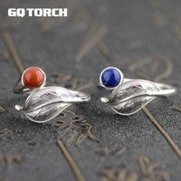 GQTIRCH Vintage 925 Sterling Silver Womens Anéis Folha Folha Forma Lapis Lazuli Red Onyx Red Anel de Pedra Natural Abertura Tipo Y0723