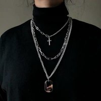 Pendant Necklaces Personality Cross Square Metal Multilayer Hip Hop Long Chain Cool Simple Necklace For Women Men Jewelry Gifts