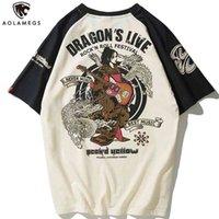 Aolamegs T-shirt uomo sovradimensionato Giapponese Geisha Dragon Stampa T-shirt Casual Anime Tshirt in cotone estate Streetwear Abbigliamento uomo 210707