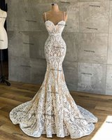 Vintage Mermaid African Wedding Dresses 2021 boho champagne lining Sweetheart Luxury Ivory Lace bridal Gowns vestido de novia