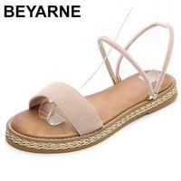 BEYARNE Summer Women Sandals OpenToe Flip Flops 's Sandles Thick Heel Shoes Fashion Gladiator FlatE652 210712