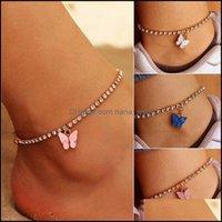 Anklets Jewelry2021 Bohemian Jewelry Stainless Steel Tennis Chain Charm Ankle Bracelet Glitter Rhinestone Crystal Butterfly Anklet Drop Deli