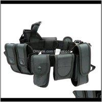 Soporte de cintura Cinturones de seguridad multifuncionales Táctica al aire libre Guardia de Tactical Guardia Utilitario Cinturón de trabajo con conjunto de bolsas HMRPL J59EB