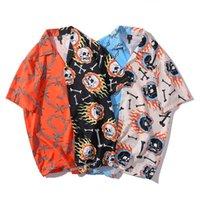 Skull Chain Bone Print Color Block Patchwork Hawaiian Shirts Hip Hop Casual Short Sleeve Button Down Tops Streetwear SA-8 Men's