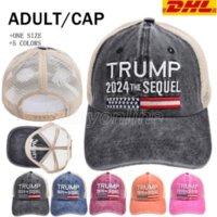 Trump 2024 Sequel Basel Baseball Hat Ponytai Lavato Maglia Cappuccio da ricamo Lettera Secchio Caps Net 5 Colori DHL