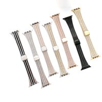 Luxury Steel Bracelet Metal Strap For Apple Watch Series 6 5 4 SE Fashion Wristbands iwatch 44mm 42mm 40mm 38mm Watchbands Smart Accessories