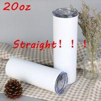 20oz Straight Sublimation Tumbler Set En acier inoxydable Isolée Office de bureau Tumbler avec couvercle fermé Paille d'anniversaire d'anniversaire