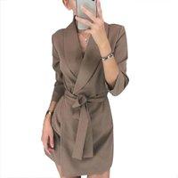 Fashion's Moda Casual Terno Cinto Cinto Mostra Fina Temperamento Elegante Vestido Curto Commuter Escritório Color Sólido A-Line Skirt Vestidos