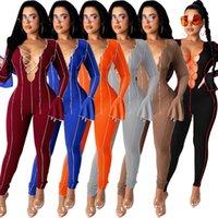 Donne tutes suits Moda Sexy Bandaggio Onesies Open Open Naf Horn Sleeve One Piece Nightclub Body Designer Designer 2020