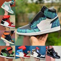 2021 Nuevo 1 1s zapatos de baloncesto hombres Satin Snake Dark Mocha Tie Dye Racer Blue Fearless Unc To Chicago Og Bio Hack Crimson Tint Light Smoke Grey Designer
