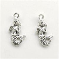 Lote 100 pcs Sereia Mermaid Maid-Maid Tibetan Silver Charms Pingentes Para Jóias Fazendo Brinco Colar Pulseira Chaveiro Acessórios 22 * 12mm DH056